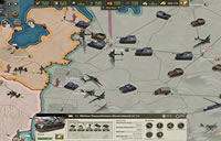 Kriegskarte in Call of War bei der ein Angriff mit Panzern und Fluzeugen stattfindet.