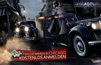2 Chicago 1920 Gangster beschießen sich gegenseitig aus Autos.