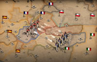 Ein Kampf auf der Schlachtkarte von New World Empires