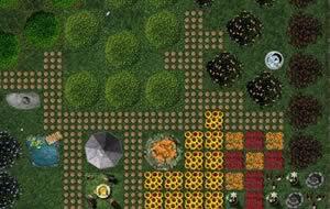Ein Garten in der Wirtschaftssimulation Wurzelimperium.
