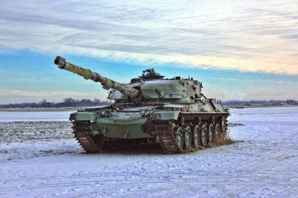 Panzer in der freien Natur im Winter